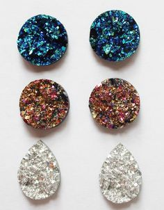Set of 3 pairs for resin Druzy stud earrings, all measures 20mm