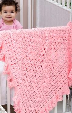 Free Crochet One Ball Ruffled Blankie Pattern.