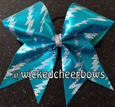 Cheer Bow  Blue/Silver Holographic Lightning by WickedCheerBows, $10.00