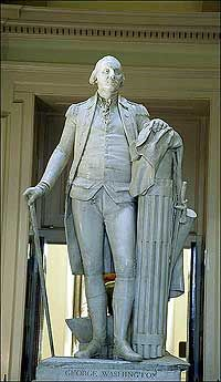 "Houdon's statue of George Washington in the Virginia State Capitol.  ""That is the man himself,"" said Lafayette."