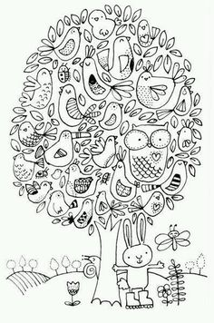 """Let me tell you about: """"The Birds and the Bees and The Flowers and the Trees….the Moon Up […] Make your world more colorful with free printable coloring pages from italks. Our free coloring pages for adults and kids. Coloring Book Pages, Printable Coloring Pages, Coloring Sheets, Doodle Drawings, Doodle Art, Bird Doodle, Doodle Flowers, Doodles Zentangles, Digital Stamps"""