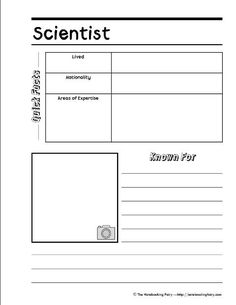 scientist notebooking page from notebookingfairy.com ~~Also includes pages for Explorers, Kings & Queens, Authors, Prime Ministers, Presidents, Artists, and Composers