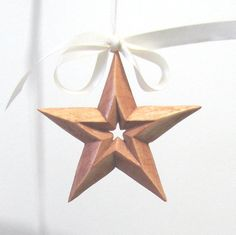 Hand Carved WOODEN STAR ORNAMENT wood carving / by JiminyLane
