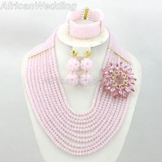 Pink African Nigerian Beaded Jewelry Set,African Nigerian Beaded Necklace,Crystal Beads Necklace,African Beaded Necklace