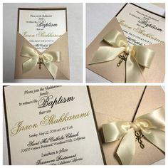 First Communion Invitation -- Baptism Invitation - Elegant Pocket Invitation