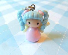Kawaii Girl Fairy Charm Chibi inspiration for cake deco Polymer Clay Kawaii, Polymer Clay Dolls, Polymer Clay Miniatures, Polymer Clay Projects, Polymer Clay Charms, Polymer Clay Creations, Polymer Clay Jewelry, Clay Crafts, Cute Clay