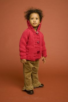 Chunky Knit Child's Raglan Cardigan  Free Lion brand pattern