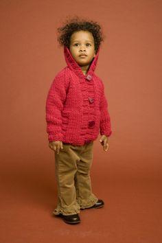 Chunky Knit Child's Raglan Cardigan  Free Lion brand pattern