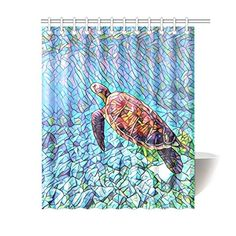 Polyester Fabric Bathroom Shower Curtain Set Ambesonne Ocean Decor Collection Blue Orange Yellow Colorful Fishes and Old Turtle Coral Reefs Dahab Red Egyptian Sea Picture