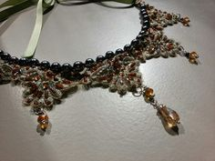 Necklace with black pearls ans Swarovsky Crystals. Made by me☆♡☆♡☆