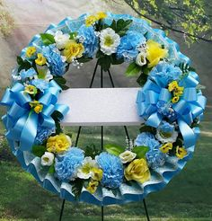 Cemetery Wreath Yellow and Blue Cemetery Flowers Sympathy Cemetery Decorations, House Decorations, Funeral Flowers, Wedding Flowers, Wreath Crafts, Wreath Ideas, Flower Colouring In, Funeral Sprays, Memorial Day Wreaths