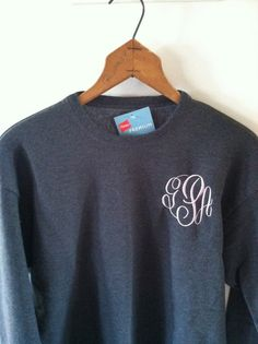 Monogrammed Sweatshirt  Crew Neck by classiccustomthreads on Etsy, $35.00