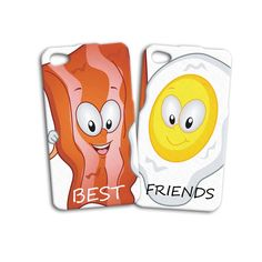 Cute Funny Bacon and Egg Best Friend Pair Buddies iPhone Case Sweet Food Cell Phone Cover Best Friends Amigos Pals Buds