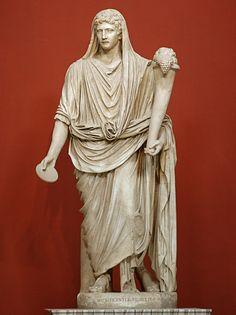 The Genius of Augustus, Roman statue (marble), 1st century AD, (Musei Vaticani, Vatican City).