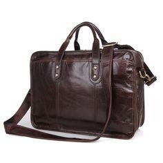 2016 New Arrival Genuine Cow Leather Men's Handbag Coffee Laptop Bag