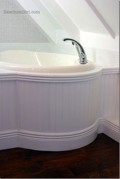 Yea!!! Great beadboard trim tutorial for rounded tub surround - now know how to finish mine. Thnx SawdustGirl.com