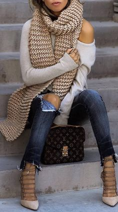 outfit+of+the+day+/+knit+scarf+++one+shoulder+sweater+++rips+++heels