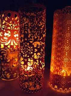 SCRAPBOOK PAPER LANTERNS  These lanterns are so easy to make and can really dress up a table or customize any party for very little money! Since scrapbook paper comes in all colors and patterns, you really have endless options.  http://martieknows.squarespace.com/blog/2011/9/2/wedding-or-party-decorations-easy-paper-lanterns.html  You can buy Best LED Tea Light in the market http://www.amazon.com/BEST-FLAMELESS-TEA-LIGHTS-Pack/dp/B00HAQUI4A/ref=cm_cr_pr_product_top