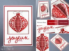 """Djudi'Scrap: Christmas Card """"Set Enchanting ornaments buffers, thinlits What a beautiful tree and thinlits Christmas Greetings"""" and on creative new promotion premiums ..."""
