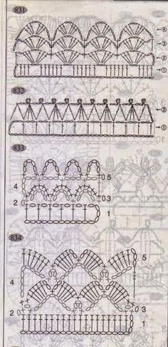 This is an interesting and nice stitch pattern: the Chevron Retro Stitch Wave Crochet pattern which I'm sure you guys would like to know how it is done. Crochet Boarders, Crochet Lace Edging, Crochet Motifs, Crochet Diagram, Crochet Art, Crochet Stitches Patterns, Thread Crochet, Crochet Designs, Crochet Crafts