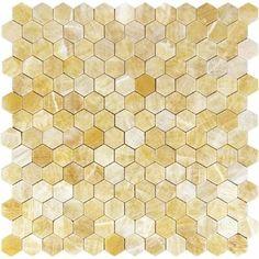 Onyx Tile, Onyx Marble, Mosaic Wall, Mosaic Tiles, Backsplash Tile, Crystal Room Decor, Yellow Kitchen Walls, Honeycomb Tile, Yellow Marble