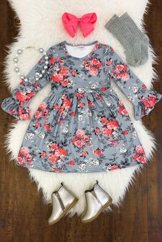 Sophia Gray Floral Bell Sleeve Dress - Sparkle in Pink Toddler Girl Style, Toddler Girl Outfits, Toddler Fashion, Kids Fashion, Toddler Girls, Little Girl Outfits, Cute Outfits For Kids, Little Girl Fashion, Baby Kids Clothes