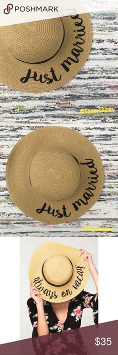 """""""Just Married"""" Embroidered Floppy Beach Hat Brand new! Super cute!   15% off for bundle purchases of 2 or more items! Purchasing 7 or more items? Please make an offer for 20% off of your bundle with the bundle offer feature and I will accept.  FEEL LIKE MAKING AN OFFER? Please do it through the make an offer feature as I will no longer negotiate prices in the comments section.   PRICE IS FINAL ON ITEMS $15 or less unless bundled. Hannah Beury Accessories Hats"""
