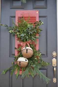 20 Alternatives to Wreaths for Fall and Winter - cute shutter with bells - Life on Kaydeross Creek