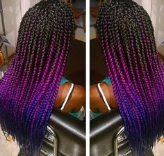 Fuchsia and blue ombre box braids! Jumbo braiding hair! Want this color hair? Click the link below! http://s.click.aliexpress.com/e/nuFYr7yVv