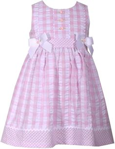 Bonnie Jean Toddler Girl Checked Seersucker Dress