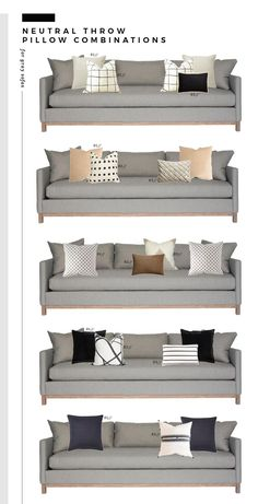 Neutral Throw Pillow Combinations for White and Gray Sofas - Room for Tuesday Our love for neutral throw pillows runs deep! See our favorite combinations for white and gray sofas in this round up on Room for Tuesday. Living Room Pillows, Living Room Grey, Home Living Room, Living Room Furniture, Living Room Designs, Sofa Pillows, Pillow Room, Throw On Sofa, Throw Pillows For Couch