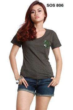 """"""" T – SHIRT BEATRIS SOS 806 """" Rp.79.000 / 8 US$   Kaos lengan pendek leher bulan warna olive dipercantik dengan manik-manik pada bagian saku.  Tampil Cantik & Menawan Dengan """"Shirt"""" Dari Ezen Online Shop  Kode : EOS 805  Merk :   Bahan / Fabric : 100% Cotton  Harga : Rp.79.000  Warna : (1 Warna)  Ukuran :   XS - Lingkar dada 82 Cm,Panjang Badan 61 Cm  S - Lingkar dada 88 Cm,Panjang Badan 63 Cm  L - Lingkar dada 100 Cm,Panjang Badan 64 Cm  Untuk pemesanan silahkan hubungi kami  Email…"""