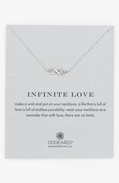 Free shipping and returns on Dogeared 'Reminder - Infinite Love' Boxed Pendant Necklace at Nordstrom.com. An infinity symbol cast in sterling silver is suspended from a delicate chain necklace as a reminder of enduring love and memories.