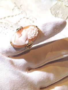 Antique Hand Carved Antique Shell Cameo In 9 K Gold Filled Size 5 Ring