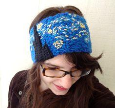 Crochet Headband, Van Gogh Starry Night Embroidered Earwarmer, Crochet Fiber Art, Wearable Art, Gift for Artists on Etsy, $35.00