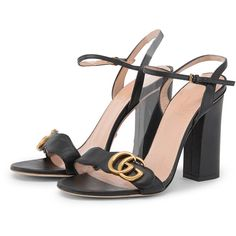 30a4e9b5903 Gucci Black Marmont GG High Heel Sandals (2330 MAD) ❤ liked on Polyvore  featuring shoes