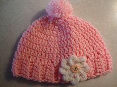 Pink Newborn Baby Girl Hat With Crochet by Yarnhotoffthehook, $15.00