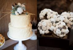 Cream, White, Grey bouquets made with raw cotton bolls, silver brunia and balsa wood flowers.