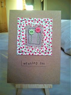 Handmade sewn card made with pretty fabric, linen and coordinating flower buttons Fabric Postcards, Fabric Cards, Handmade Birthday Cards, Greeting Cards Handmade, Free Motion Embroidery, Machine Embroidery, Fabric Embellishment, Sewing Cards, Fabric Squares