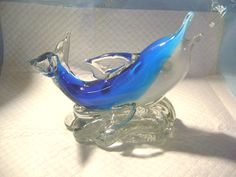 DOLPHIN GLASS PAPERWEIGHT-2.7 LB WEIGHT