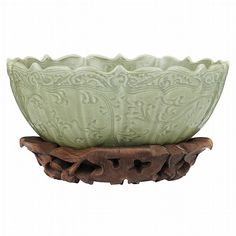 Chinese Celadon Glazed Deep Bowl for Sale at Auction on Mon, - - Asian Works of Art Chinese Ceramics, Art For Sale, Olive Green, Glaze, Decorative Bowls, Porcelain, Miniatures, Carving, Pottery