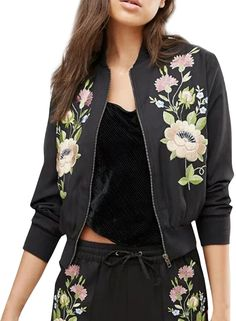 the bomber jacket is featuring stand collar, long sleeve, floral embroidery pattern and zip up closure.