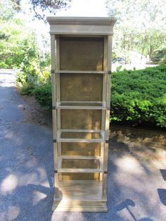 Vintage glass curio shelf unit, painted and added gold glaze