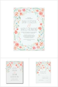 Whimsical watercolor flower wreath wedding invitation set in shades of pink, peach and mint green. Pastel Flowers Wedding Collection by Jinaiji