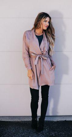 Tie Waist Draped Jacket- Mocha - Dottie Couture Boutique