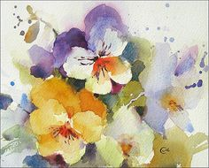 Pansies Watercolor  Original Painting 8x10 inches by CMwatercolors, $90.00