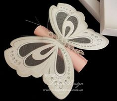 Butterfly wings scroll invitations box 15 by InvitationsbyTango