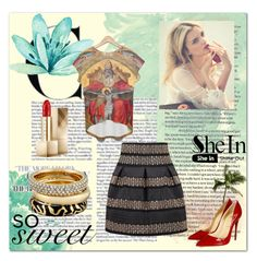"""""""SheIn black high waist skirt"""" by stine1online ❤ liked on Polyvore featuring Burberry, Michael Kors, Christian Louboutin, women's clothing, women, female, woman, misses and juniors"""