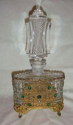 Great-buy-Fab-Huge-Vintage-Czech-Jeweled-Cut-Perfume-Bottle