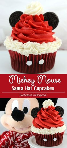 Mickey Mouse Santa Hat Cupcakes - these fun Christmas Cupcakes with a Disney theme will be a big hit at your Holiday Party. So adorable, so delicious and so easy to make. Pin this yummy Christmas Treat for later and follow us for more fun Christmas Food Ideas. by callie